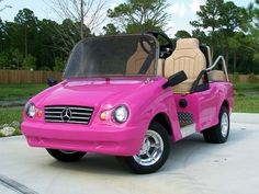 Pink Mercedes golf cart!