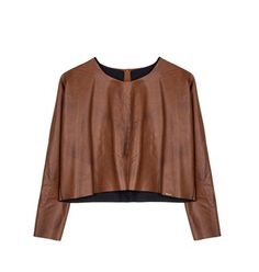 Leather look cropped blouse