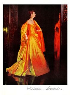 1958 modess, orang, vintag fashion, color, dress, gown, vintage ads, vintag ad, 1950s fashion