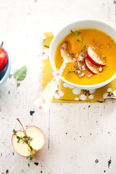 kabocha squash and apple soup with hazelnuts