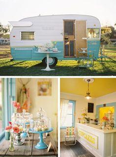 aqua vintage caravan