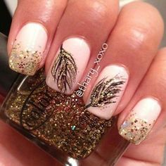 Gold-leaf nails! So cute! Love the peach under it!