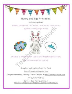 Bunny and Egg Printables for Pre-K and Kindergarten product from Growing in Pre K on TeachersNotebook.com