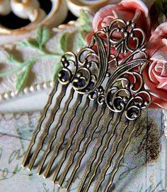 Brass hair pins, clips, combs vintage DIY hand made jewelry (j005)  #handmade #jewelry