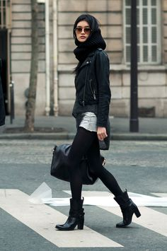 models off duty, jean shorts, boot, black outfits, winter style, street styles, leather jackets, denim shorts, style fashion