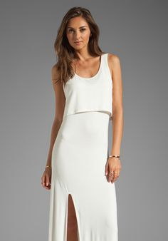 Lovers   Friends Hello Goodbye Maxi Tank Dress with Slit in White