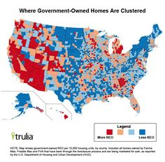 Where Government-Owned Homes are Clustered, by Joe / red = more , blue = less