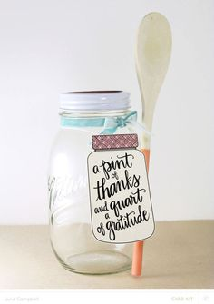 Pint of Thanks Jar & Painted Spoon Set by Julie Campbell at @studio_calico - stamped mason jar gift
