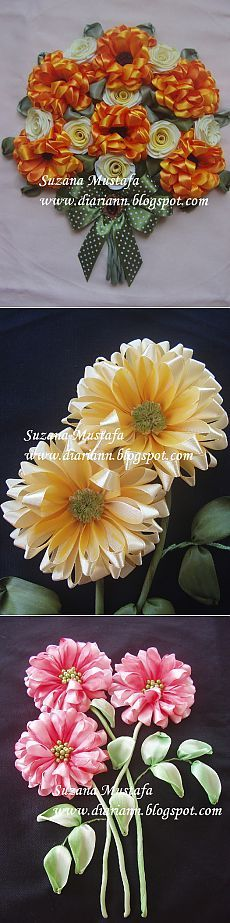 Ravishing beauty embroidery ribbons.  Chrysanthemums from Suzana Mustafa.