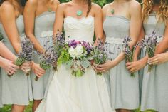 focusing on dresses and bouquets