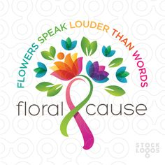 Exclusive Customizable Logo For Sale: Floral Charity Ribbon