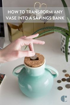 Turn any old jar or vase into a savings bank with this DIY cork topper.