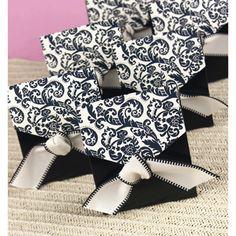 "Black and Ivory Flourish Favor Boxes:   Black boxes with ivory flap and black flourish design include a 1"", precut, ivory ribbon with black stitching."