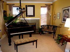 Elegant Piano Room #interior #design #draperies #piano By Room Resolutions, Inc