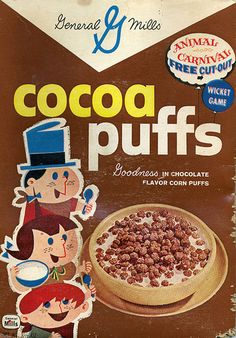 """""""I'm Koo Koo for Cocoa Puffs.""""  cereal box circa early 1960s."""