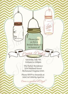 Vintage Mason Jar Custom Bridal Baby Shower or by silverscraps, $16.00