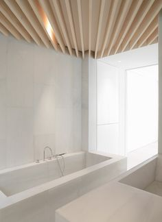 | DETAILS | Photo Credit: orfila flat | bathroom ~ schneider colao - lovely use of wood and ceiling plain as a visual texture #details #ceilings #modern