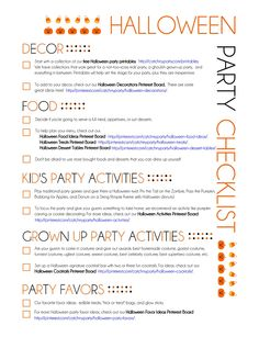 Free Halloween party checklist printable #halloweenparty