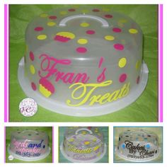 Personalized cake carrier @Etsy designed with your name and colors - perfect for a professional baker or home cook!