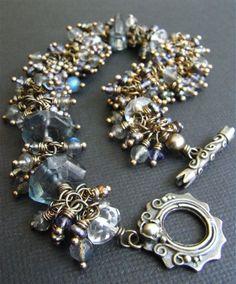 London Fog - iolite, freshwater pearl, labradorite, rock crystal quartz, aquamarine quartz, Balinese and sterling silver bracelet