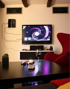 When You Cant Hide Your Cables, Embrace Them for Better Access and Organization Diy Ideas, Wall Art, Home Theaters, Interiors Design, Apples Tv, Cable Management, Design Elements, Hiding Cords, The Wire