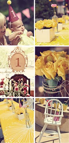 you are my sunshine birthday party- yellow & pink...