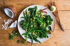 Broccolini and Edamame Salad with Curry Leaves and Coconut