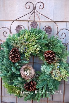 evergreen wreath  with nest