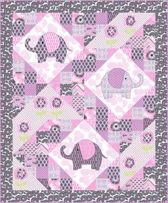 ~free pattern ~ Elephant pop Quilt, including elephant templates for applique, by Marinda Stewart for Michael Miller Fabrics