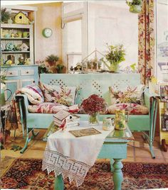 shabby pastel with porch glider.