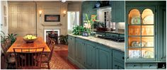 Early American Kitchen Design | Farmhouse, Early American, Colonial Kitchen: Again, the glass display ...