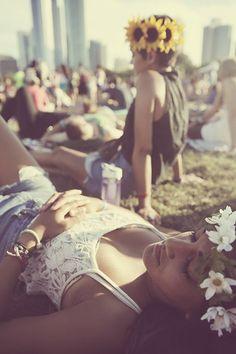 Lace, denim and flower crowns. #Coachella