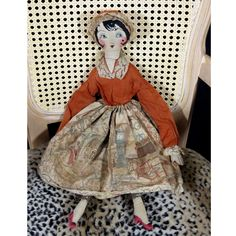 Very Old Doll Vintage Handmade RAG DOLL Cloth Bed Doll Sweet Embroidered Hair Face & Shoes Very Old Doll