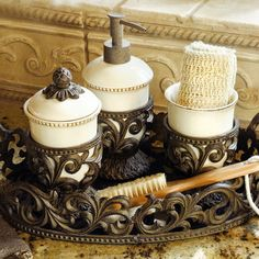 Beautiful, Italian-inspired, ceramic vanity set from the GG Collection is made for your Tuscan style home, $96.00
