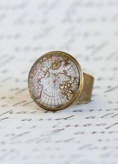 Cocktail Ring Map Ring Gift For Traveler World