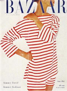 Vintage stripes.  Adorable outfit.  Would love to have this for a walk on the beach. magazine covers, fashion, red, vintage, summer travel, harper bazaar, white, magazines, stripes