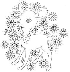 deer vintag pattern, embroidery patterns, embroideri pattern, babi embroideri, babi quilt, baby quilts, laura wheeler, embroidery deer