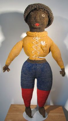 black, knitted, folk doll