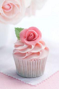 Perfect pink rose cupcake