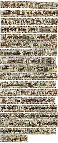 The Bayeux Tapestry is an embroidered cloth—not an actual tapestry—nearly 70 metres (230 ft) long, which depicts the events leading up to the Norman conquest of England concerning William, Duke of Normandy, and Harold, Earl of Wessex, later King of England, and culminating in the Battle of Hastings. It is likely that it was commissioned by Bishop Odo, William's half-brother, and made in England—not Bayeux—in the 1070s.