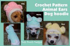 Dog Hoodie - Animal Ears Bunny, Kitty or Bear Dog Sweater   PoshPoochDesigns - Pets on ArtFire