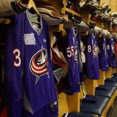 Jerseys hang prior to the Columbus Blue Jackets #HockeyFightsCancer night.