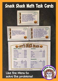 Your students will love using the Snack Shack menu to solve each of these 32 problems. Great for centers!  $