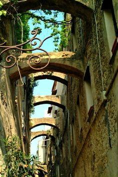 The historic center of the village of Bussana, Imperia, Italy