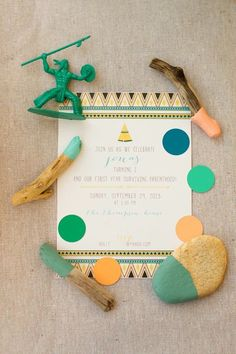 Pow Wow indian party invitation via Kara's Party Ideas KarasPartyIdeas.com
