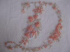 Vintage Ladies Handkerchief Hand Embroidery Monogram Letter D.