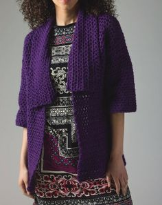 Lion's Pride® Woolspun® Crochet Cardigan (Level 1) - keep warm and cozy with this stylish sweater. Pattern and materials available by clicking image.