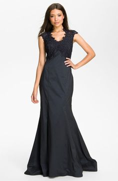 Tadashi Shoji Embroidered Bodice Taffeta Trumpet Gown available at #Nordstrom