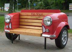 benches, garden craft, auto recycl, recycl car, furniture, car bench, crafti idea, diy, thing