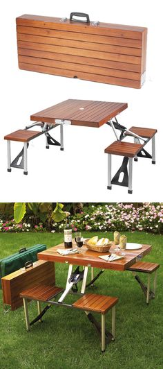 Portable fold up picnic table // I remember this when I was a kid! #furniture_design
